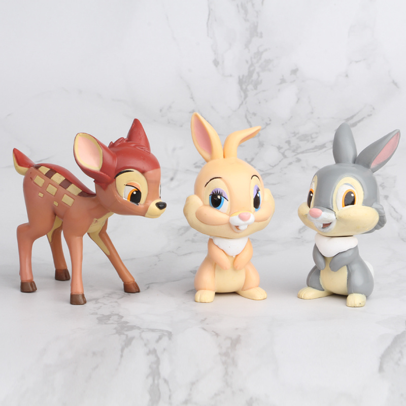 3pcs/set Disney Movie Bambi Classic PVC Model Toys Deer Bambi Dolls Action Figures Toys Juguetes Brinquedos for Kids