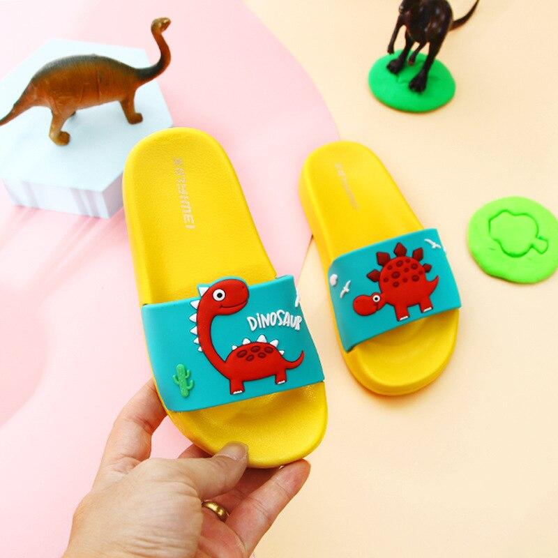 Summer Dinosaur Children's Slippers For Boys Girls Slippers PVC Soft Bottom Non-slip Beach Sandals Kids Home Bathroom Flip Flops