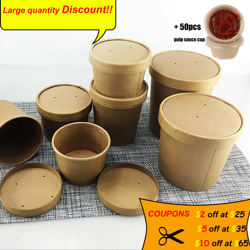 Disposable Kraft Paper Soup Cup Dessert Ice Cream Cake Soup Container Suitable For Restaurant Potluck Food Package.
