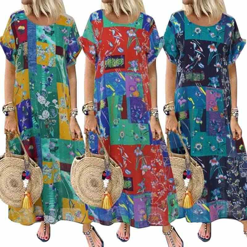 ZANZEA 2020 yaz Vintage çiçekli baskılı uzun elbise kadın kısa kollu Casual Baggy parti Vestido artı boyutu elbise plaj Sundress