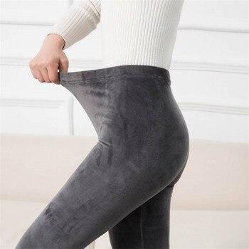 YRRETY Autumn Winter Fashion Plus Thick Velvet Warm Double Sided Cashmere Leggings Warm Pants Knit High Waist Thermal Leggings