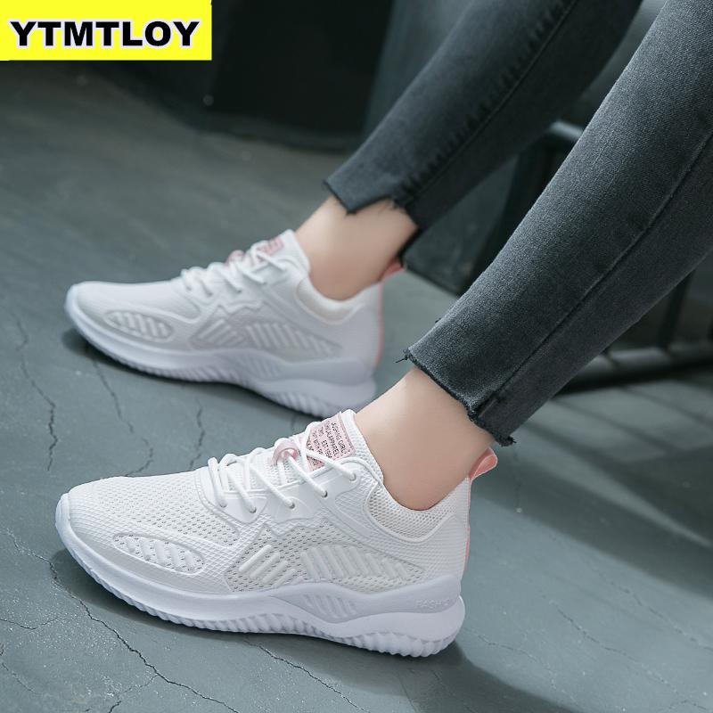 2019 Women Casual Shoes Fashion Sneakers Breathable Mesh Walking Lace Up Flat Zapatos De Mujer Platform Air Mesh Summer Chunky