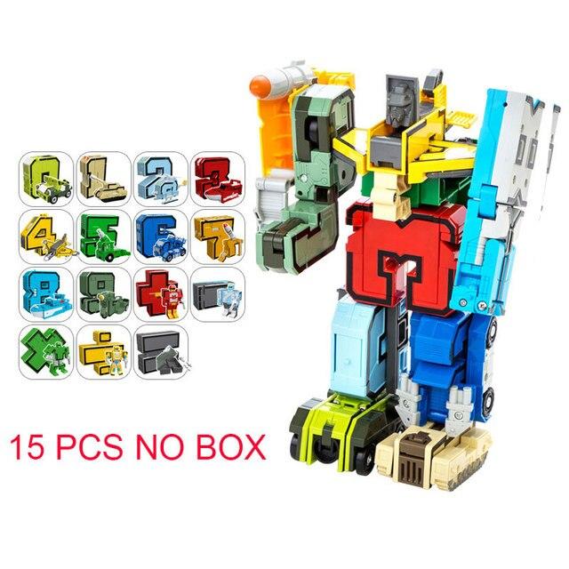 15 in 1 Educational Assembling Building Blocks GUDI Action Figure Transformation Robots number deformation Toys for children