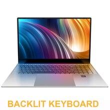 Computadora portátil de 15,6 pulgadas con Teclado retroiluminado con 8GB de RAM DDR4 1TB 512G 256G 128G SSD portátil computadora Win10 Intel J3455 IPS Ultrabook