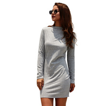 Autumn Winter Cotton Knitted Sweater Dress Women 2019 Long Sleeve O-neck Sexy Mini Bodycon Dress Vestidos цена