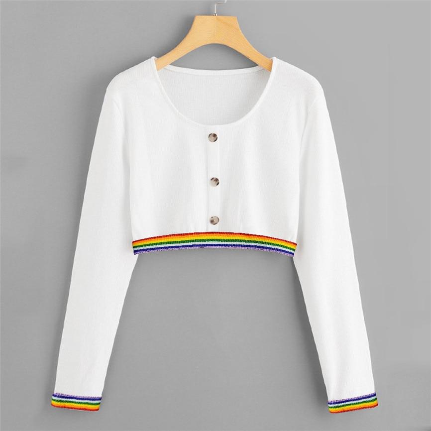 2020 Women Casual Hoodies Women Sweatershirt Solid Patterned Ribbon Button Long Sleeve Sweatshirt Cute Sweatshirts #45