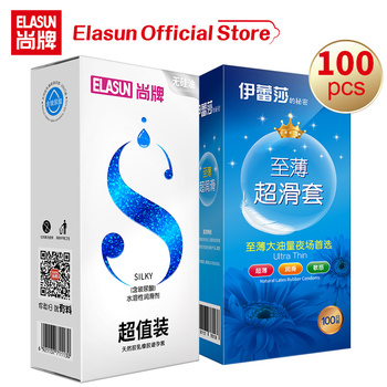 ELASUN Condoms 100Pcs/Lot Natural Latex Smooth Ultra-thin Lubricated Contraception Sex Products Penis Condoms for Men Sex Tool mingliu high quality natural latex ultra thin 002 lubricated condoms condoms penis sleeve safer contraception for men 10 pcs box