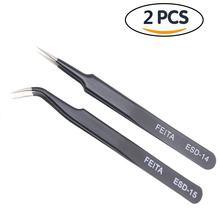 Aço inoxidável em linha reta curvada pinça maquiagem cílios extensor pinça beleza maquiagem cílios fosco pinça falsa ferramenta