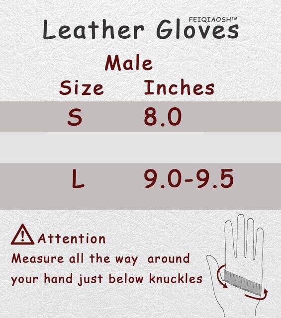 Мужские перчатки,черные теплые зимние перчатки из натуральной кожи с кнопкой 6