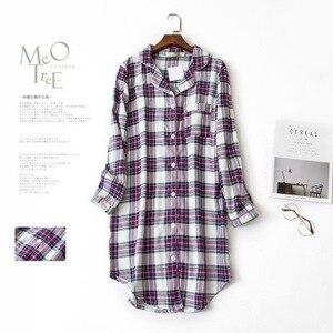 Image 3 - 여성 나이트 셔츠 스트라이프 나이트 드레스 폴카 도트 나이트 가운 슬리핑 셔츠 슬리퍼 코튼 슬리퍼 나이트 가운 슬리퍼
