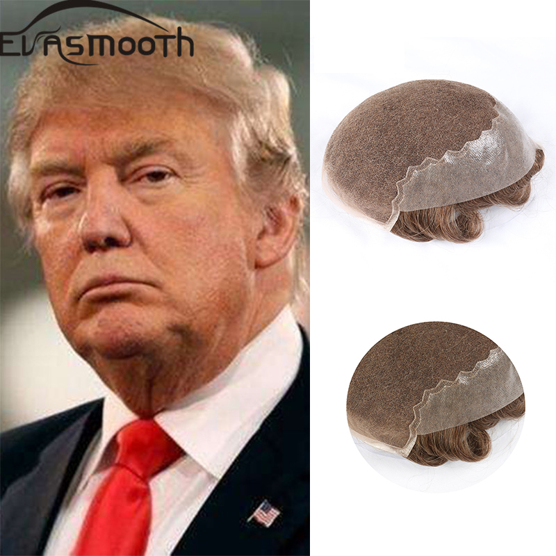 Fashion Q6 Trump Style Men Toupee Skin & Pu Lace Wig Durable Comfortable Indian Human Remy Hair Toupee Wig Replacement System