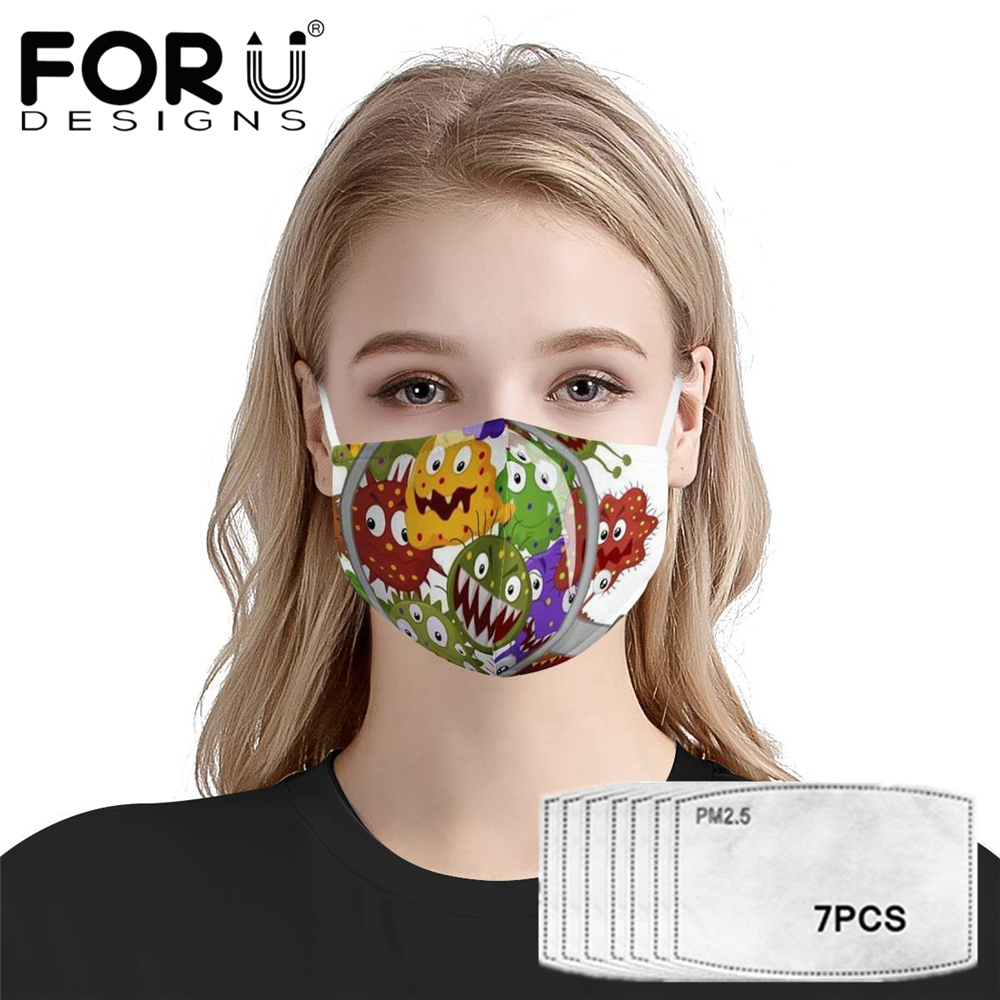 FORUDESIGNS New Dusrt Anti Haze Mouth Cover Masks And 7Pcs PM2.5 Filter 3D Cute Microbial Mask Printed Reusable Anti Air Dust