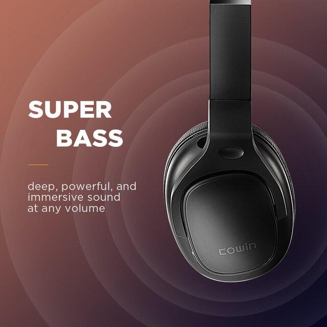 Cowin e9 active noise cancelling fones de ouvido bluetooth sem fio fone sobre a orelha com microfone aptx hd som 3