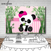Sensfunピンクグリーンテーマパンダ竹写真撮影の背景写真スタジオ誕生日パーティー背景 7x5ftビニール
