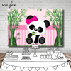 Sensfun Pink Green Theme Panda Bamboo Photography Backdrop For Photo Studio Girls Birthday Party Backgrounds 7x5ft Vinyl