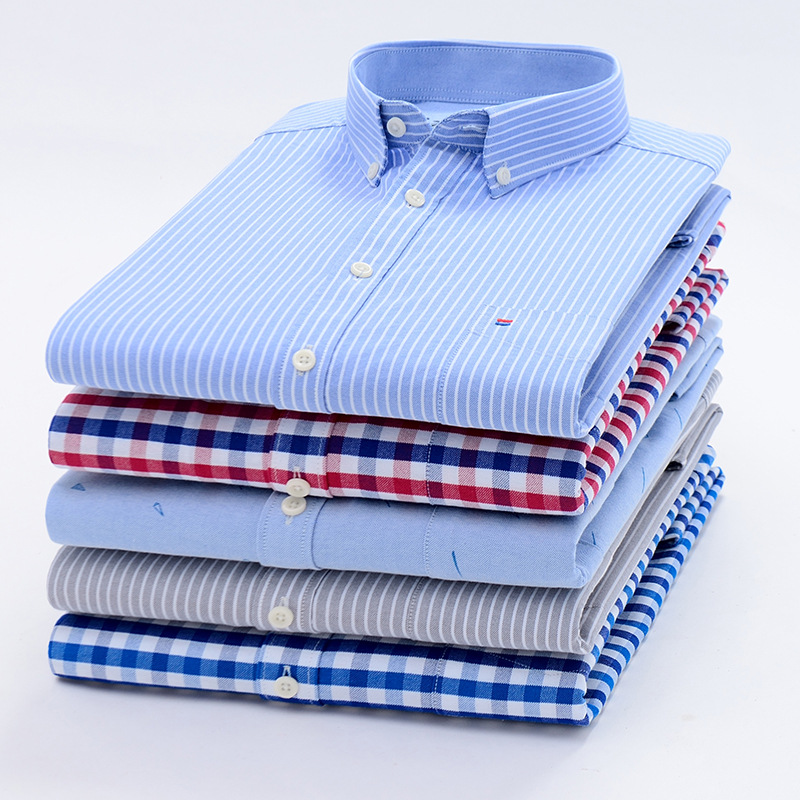 Men's Shirts Tops plaid shirt Striped Shirt Oxford Casual Men's Shirts With Long Sleeves Slim Fit Camisa Social 5XL 6XL Big Size