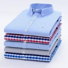 Koszule męskie topy koszula w kratę koszula w paski Oxford Casual koszule męskie z długimi rękawami Slim Fit Camisa Social 5XL 6XL Big Size