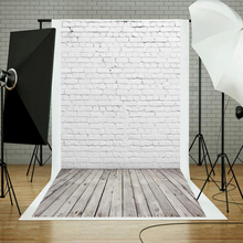 Fotografie Achtergrond Vinyl Witte Bakstenen Muur Houten Bord Achtergrond Voor Huisdier Foto Studio Baby Shower Pasgeboren Kinderen Photoshoot