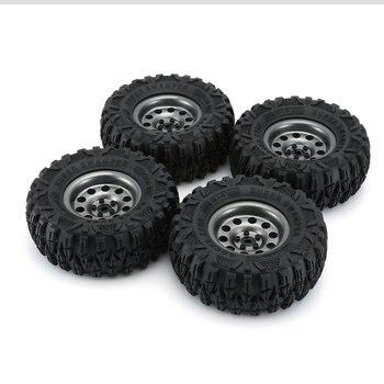 4PCS Metal Climbing Rock Crawler Wheel Tires 2.2in Tyre Car Set with Wheel Rim Beadlock for 1/10 RC Crawler Car injora 4pcs black wheel rim