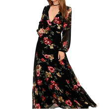 Boho Bohemian Dresses Floral Print Dress Style Party Beach V Neck Evening Summer