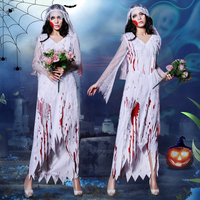 Horror Female Ghost Halloween Costume For Women Cosplay Scary Bride Adult Suit Nightclub Ds Costume Gogo Dance Hallowen DQS3107