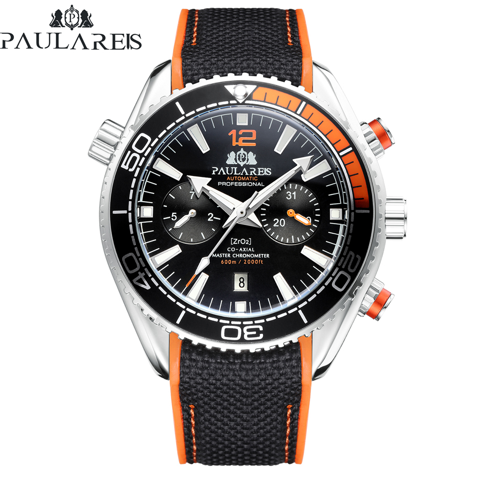 Automatic Self Wind Mechanical Canvas Rubber Strap James Bond 007 Style Orange Blue Red Multifunction Date Month Men Sport Watch|Women's Watches| - AliExpress