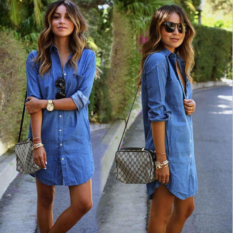 נשים של סתיו אופנה קצר מוצק להנמיך צוואר כפתור כחול ג 'ינס חולצת ג' ינס ארוך שרוול מזדמן רופף חולצה קצר שמלה