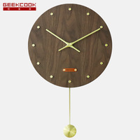 New Chinese Style Ming And Qing Furniture Accessories Brass Wood Wall Clock yu Star MDF Walnut Lagging Clock Surface