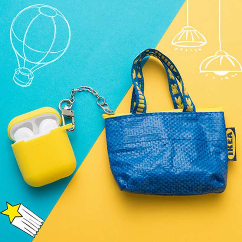 Random Color Coin Purse Mini Wallet Money Pouch Keyring Card Holder Small Zip Bag for Apple Airpods 1 2 Earphone Accessories