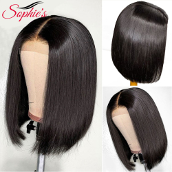 Sophie's 4*4 Lace Closure Short Bob Human Hair Wigs Pre-Plucked Brazilian Straight Human Hair Wigs 150% Density Remy wig 8-14