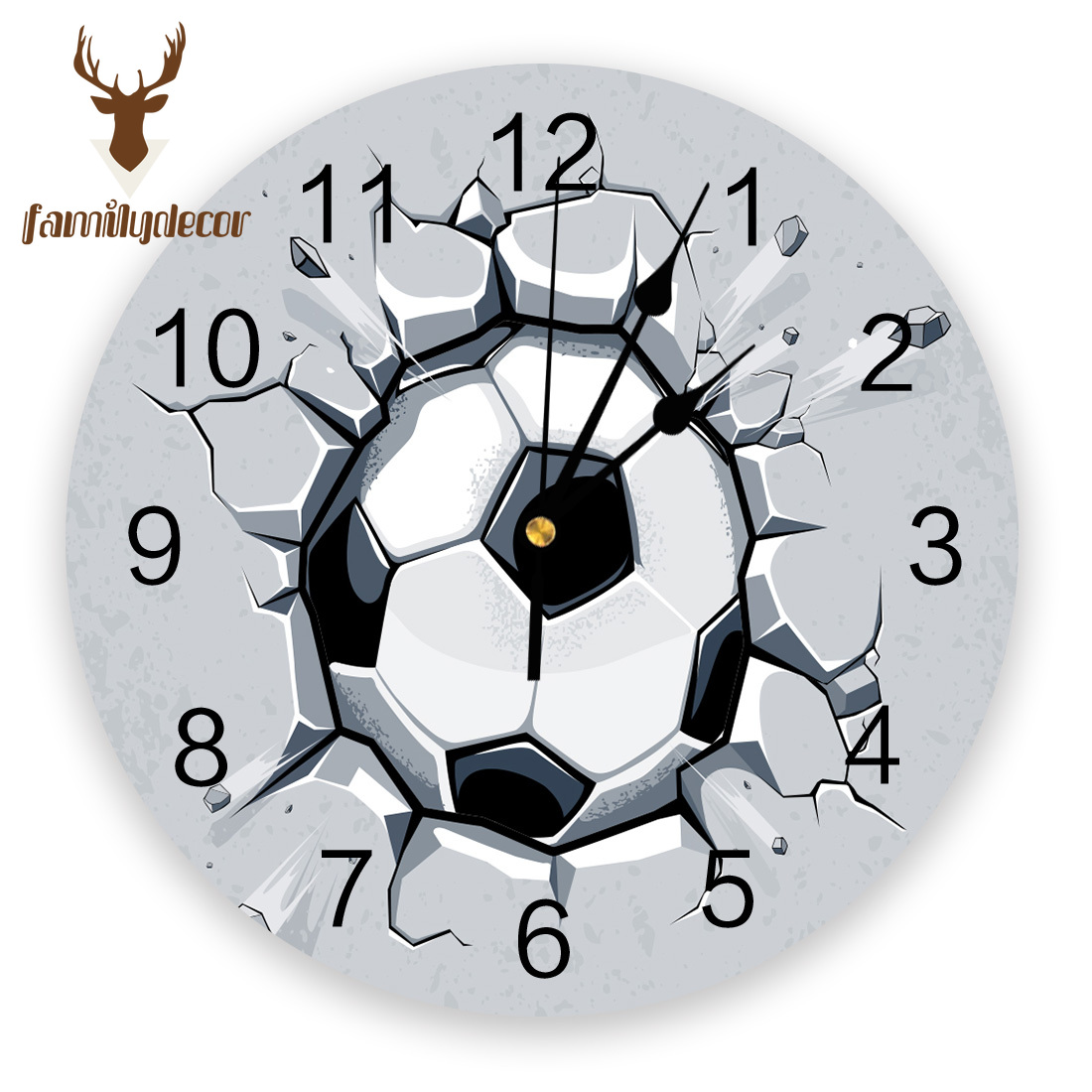 3D Football Crackle Soccer Game Power PVC Wall Clock Modern Design Home Decor Bedroom Silent Oclock Watch Wall For Living Room