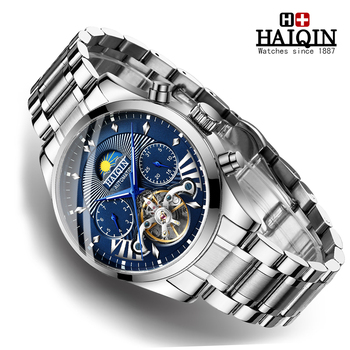 New HAIQIN Mens Watches Top Brand Luxury Mechanical Wristwatch Watch Men Automatic Waterproof Business Clock relojes hombre 2019 mens watches automatic mechanical watch mens stainless steel casual business wristwatch relojes hombre top brand burei luxury