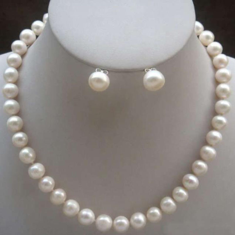8-9mm Real Natural White Cultured Pearl 14K GP Necklace Earrings Jewelry Set