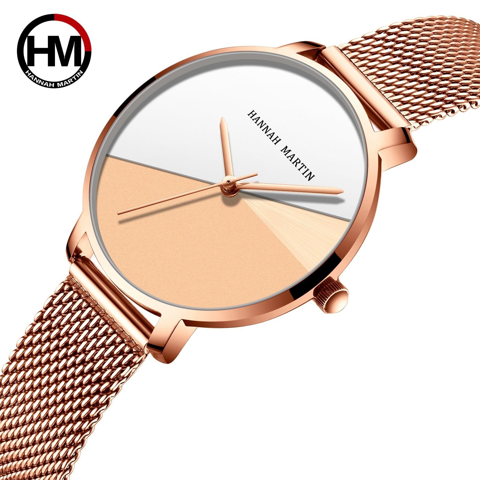 Hannah Martin Women Watch Personality Ultra-Thin 2020 Rose Gold Ladies Watch Mesh Strap Luxury Women's Watches Montre Femme