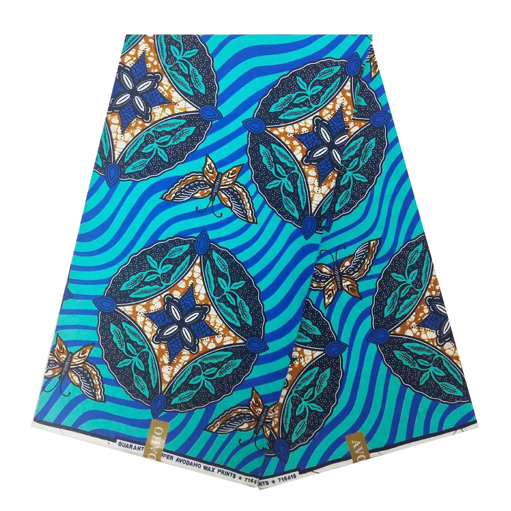 Blue Nigerian African Wax Print Fabric Dutch Veritable Real Wax In Cotton Ankara Ghana Fabrics For Dress Party Sewing 6 Yards