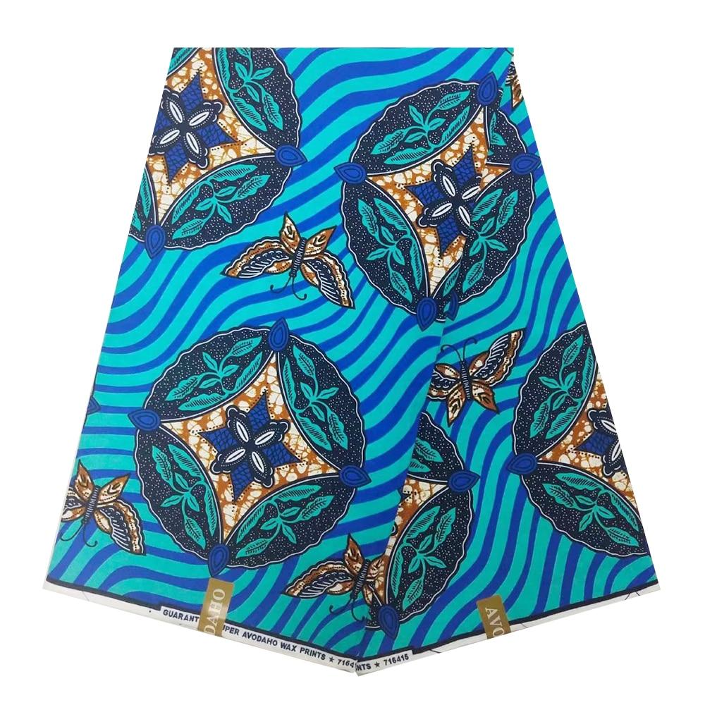 Blue Nigerian African Wax Print Fabric Dutch Veritable Real Wax In Cotton Ankara Ghana Fabrics For Dress Party Sewing 6 Yards