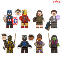 8 Stuks Set Superhero Avengers Black Panther Gamora Iron Man Captain America Compatibel Lego Bouwstenen Bricks Cijfers(China)