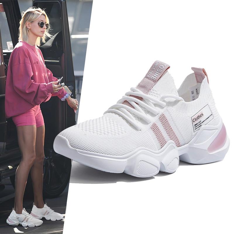2020 Women Sneakers White Casual Platform Sneakers Light Fashion Women Sport Shoes Running Walking Trainers Vulcanize Shoes 1
