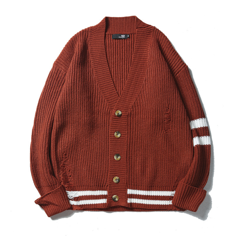 2020 new arrival men's oversized cotton matching male hole sweaters men cardigan sweater loose knitting coat pattern casual