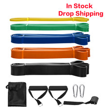 Fitness Gummi Bands 5 Packs Pull Up Assist Bands Set Widerstand Schleife Natürliche Latex Bands mit Tür Anker und Griffe resistance bands yoga gym fitness band fitness equipment for home gym sport