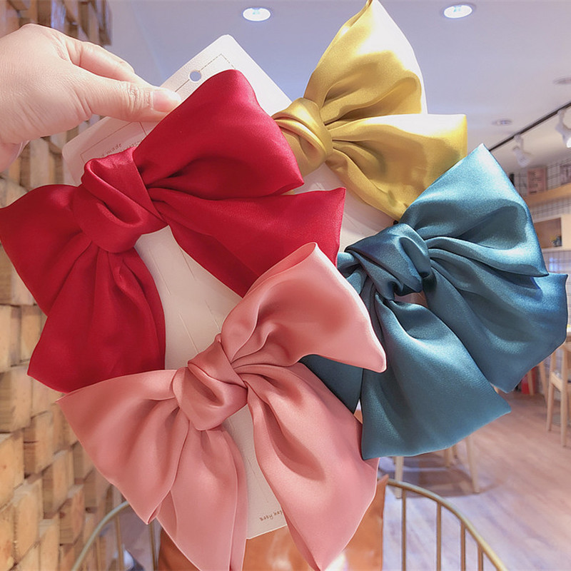 Korean Simple Beautiful Colorful Large Bow Elastic Hair Bands Hairpins For Sweet Fashion Girl Women's Ponytail Hair Accessories