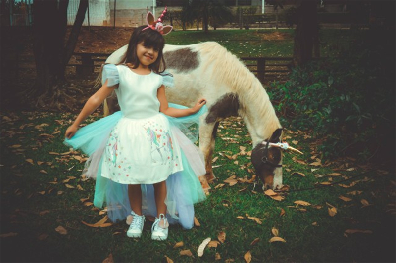 Christmas Girls Unicorn Dress with Long Tail Wings Wig Hairband Baby Girl Princess Birthday Party Ball Gown Kids Horse Clothes