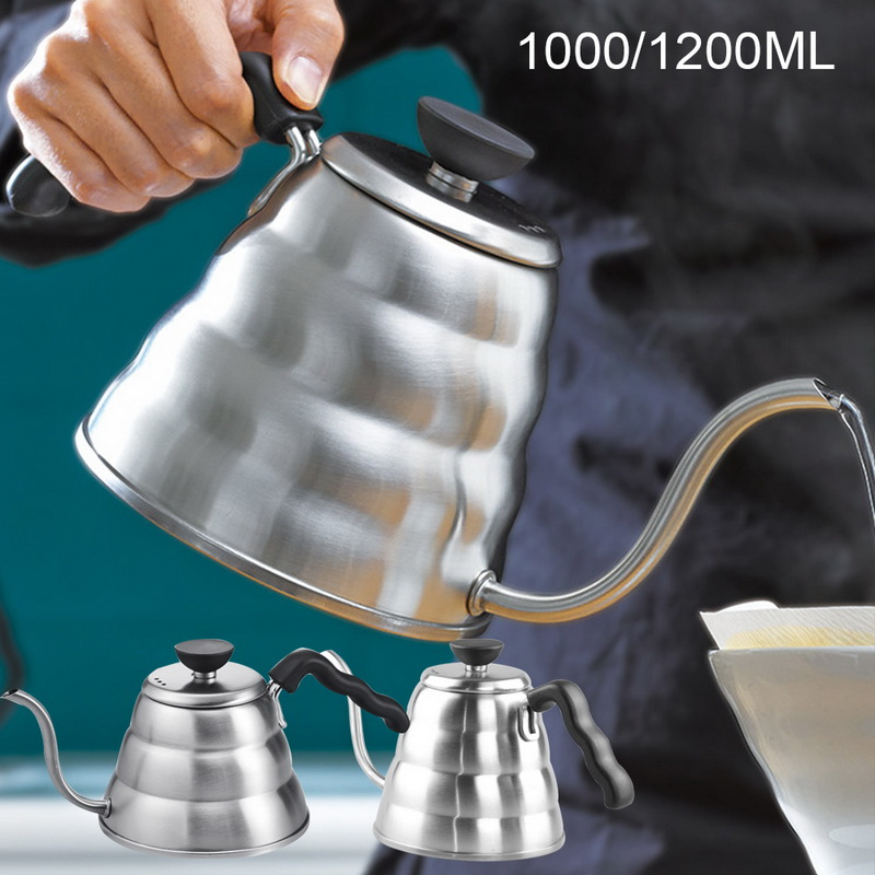 1.2L Stainless Steel Gooseneck Coffee Pot Pour-over Coffee Kettle With Filter Hand Drip Coffee Pot Tea Percolator Teapot#25