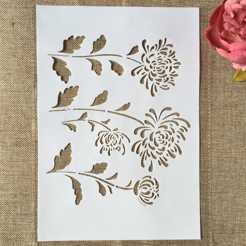 29cm A4 Flower Chrysanthemum DIY Layering Stencils Wall Painting Scrapbook Coloring Embossing Album Decorative Template
