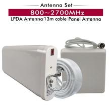 Outdoor LPDA Antena + Antena Painel Interior + 13 Metros Branco Acessórios Conjunto de Cabos para 800 ~ 2700MHz 2G 3G 4G Repetidor de Sinal de Celular
