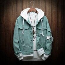 Mens Autumn Denim Jackets Fashion Casual Stitching Punk Hooded Denim Jackets High Quality Cotton Denim Coats Size 3XL