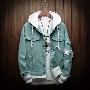 Image 1 - Mens Autumn Denim Jackets Fashion Casual Stitching Punk Hooded Denim Jackets High Quality Cotton Denim Coats Size 3XL