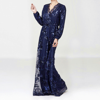 Plus Size Muslim Fashion Lace Sequin Abaya Dubai Dress For Women Turkey Robe Evening Maxi