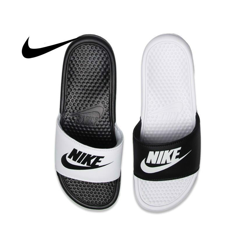 Nike NIKE BENASSI JDI Black And White Sports Slippers Anti-slip Sandals 343880-100