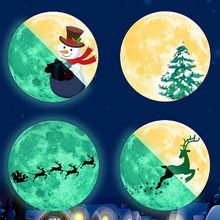 Luminous Lunar Wallpaper Christmas Cedar Pine Deer Window Sticker Kids Room Decorations for Home New Year Stickers
